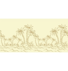 Seamless pattern island with palm contours vector