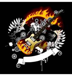 Black background with a guitar vector