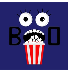 Popcorn boo scary face flat vector