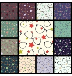Set of seamless patterns with glasses vector