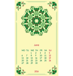 Template calendar 2016 for month june vector