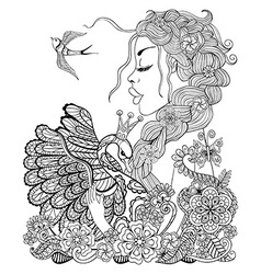 Forest fairy with wreath on head hugging swan in vector
