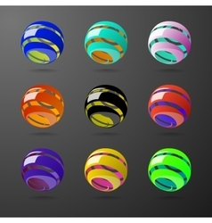 Set of color spiral ball shapes vector