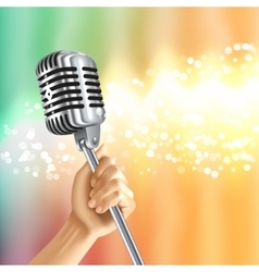 Vintage microphone light background poster vector