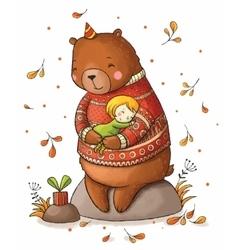 Brown teddy bear hugging a girl vector