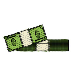 Color crayon stripe cartoon pack stack bills vector
