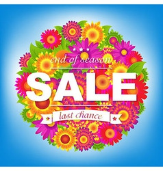 Color Sale Poster With Flowers vector image