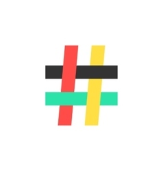 Colored hashtag icon on white background vector