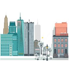flat city winter scene skyscrapers houses road vector image