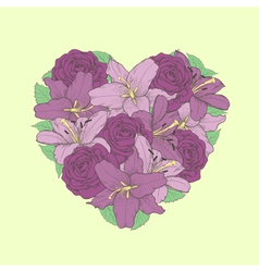 flowers lilies and roses in the shape of a heart vector image