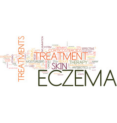 Forms of treatment for eczema sufferers text vector