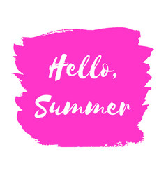 hand paint pink watercolor texture hello summer vector image