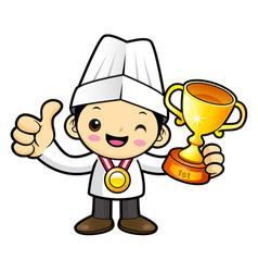 Happy chef character selected as a winner vector