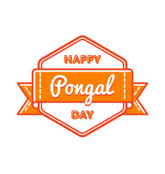Happy pongal day greeting emblem vector