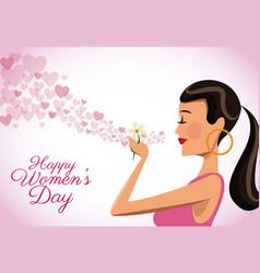 Happy womens day card cute girl flower heart vector