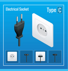 isometric switches and sockets set realistic vector image vector image