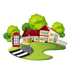 Neighborhood scene with house and road vector