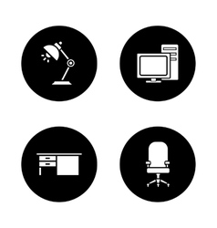Office interior black icons set vector image vector image