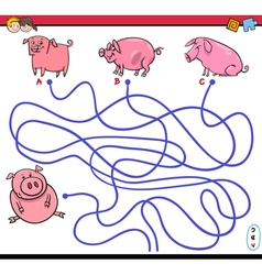 Path maze game with pigs vector