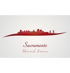 Sacramento skyline in red vector image vector image