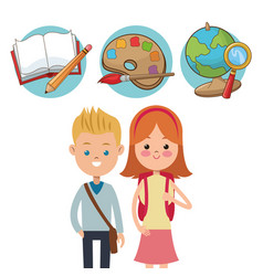 School kids ready activity education supplies vector