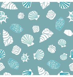 Seamless pattern with various shells vector image