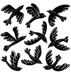 set of cute black birds vinil stickers vector image