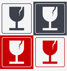 Set of four fragile icon fragile symbol for vector
