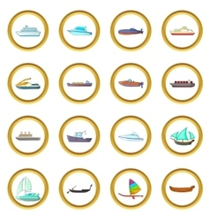 Ship and boat set cartoon style vector image vector image