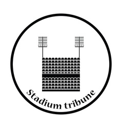 Stadium tribune with seats and light mast icon vector
