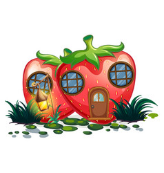 Strawberry house with lantern in garden vector