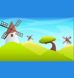 summer landscape windmill vector image
