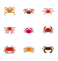 underwater crab icons set cartoon style vector image