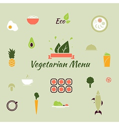 Vegetarian menu icons in the flat color style vector image