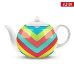 White ceramic teapot with material design vector image
