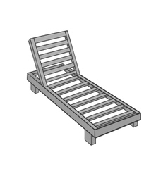 Wooden chaise lounge icon black monochrome style vector