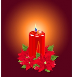 Christmas candle with poinsettias vector