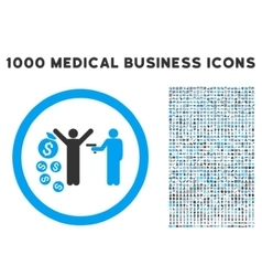 Robbery rounded icon with medical bonus vector