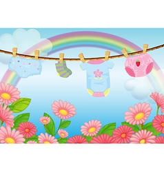 Infant clothes near the garden vector