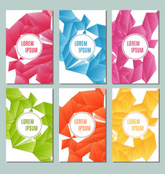 Modern brochure cards with triangular backgrounds vector
