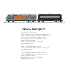 Poster locomotive with tank car vector