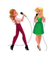 Two pretty girls women singing together karaoke vector
