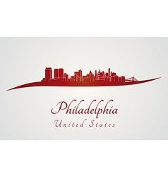 Philadelphia skyline in red vector