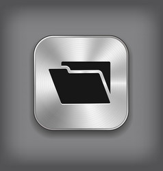 Folder icon - metal app button vector