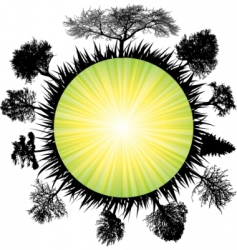Solar earth tree vector