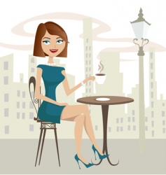 Girl drinking coffee vector
