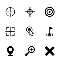Black target icon set vector