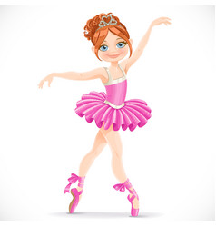 Beautiful brunette ballerina girl dancing in pink vector
