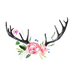 Deer horns with watercolor flowers vector