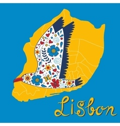 Colorful card with map of lisbon and seagull vector